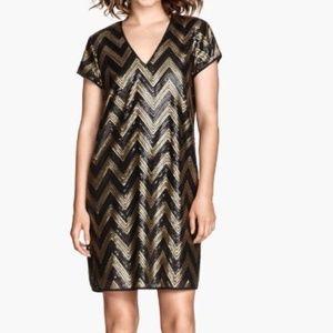 H&M HM Black Gold Sequin Shift Dress